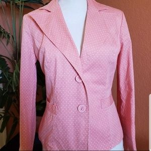 DMBM Polka Dot Blazer, Double Button, Salmon